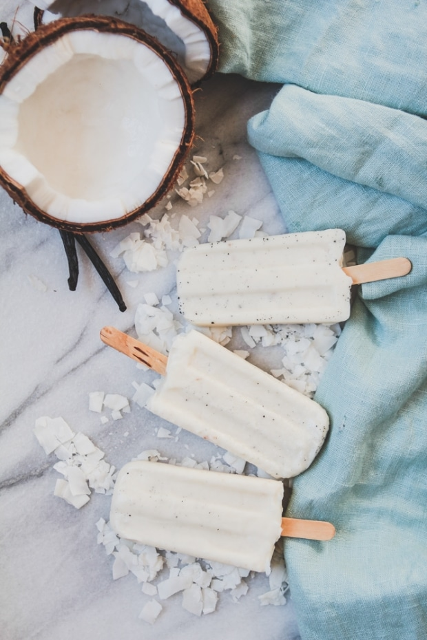 Coconut Cream Popsicles with Vanilla Bean and Malibu Rum from the modernproper.com on foodiecrush.com