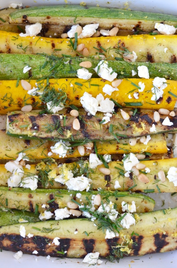 Grilled Summer Squash with Feta, Lemon & Fresh Herbs by Mountain Mama Cooks on foodiecrush.com