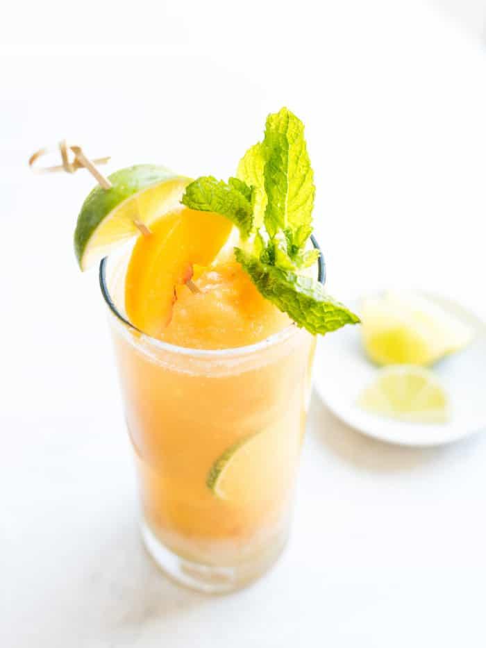 Peach Sorbet Mojito Float from kitchenconfidante.com on foodiecrush.com