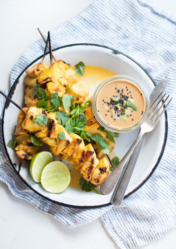 Thai Chicken Satay with Spicy Peanut Sauce from A Life Well Lived Blog on foodiecrush.com