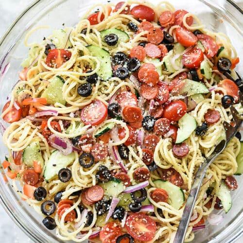 Easy Italian Spaghetti Pasta Salad