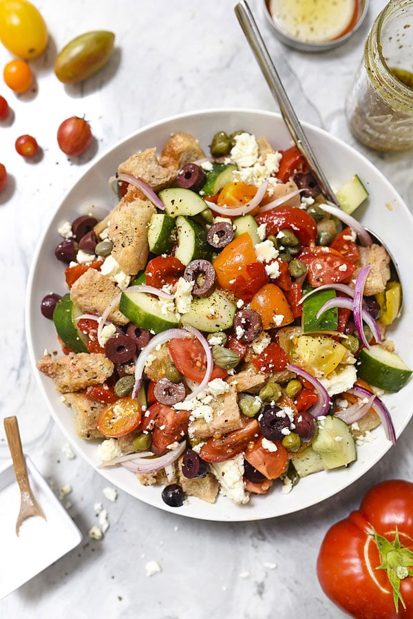 Greek-Style Panzanella Bread Salad Recipe | #salad #dinners #summer #Greek foodiecrush.com
