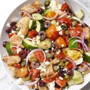Greek-Style Panzanella Bread Salad Recipe   foodiecrush.com