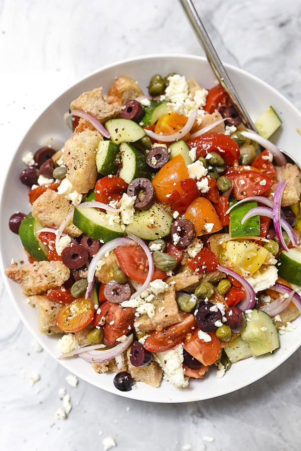 Greek Style Panzanella Bread Salad Recipe Foodiecrush Com