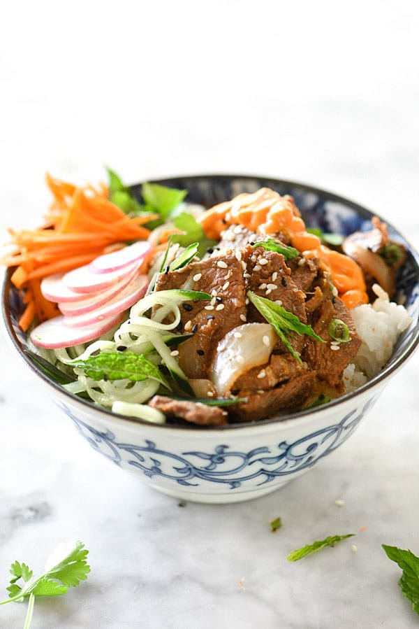 Korean Beef Bulgogi Bowls recipe | foodiecrush.com