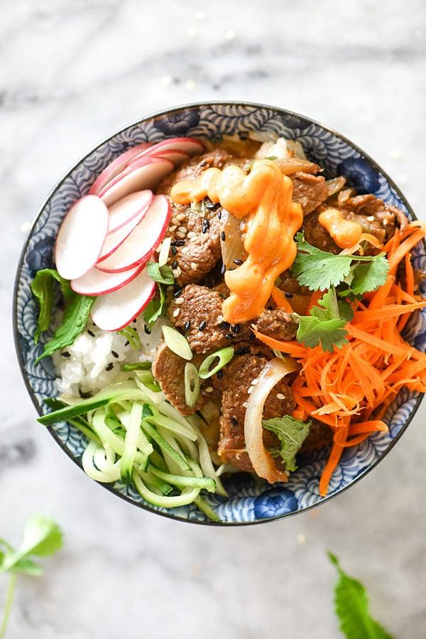 Korean Beef Bulgogi Bowls recipe | #recipe #Korean #easy #bowl foodiecrush.com