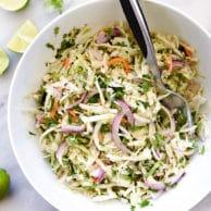 Easy Mexican Coleslaw Recipe | foodiecrush.com
