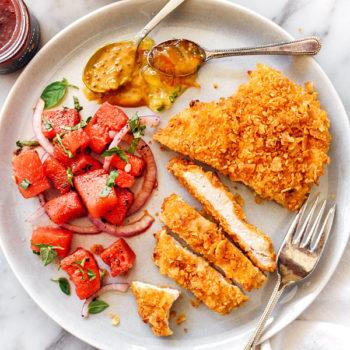 Potato Chip Crusted Chicken Breasts Recipe | foodiecrush.com