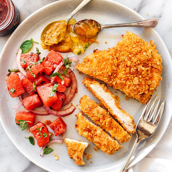 Potato Chip Crusted Chicken Breasts Recipe | foodiecrush.com