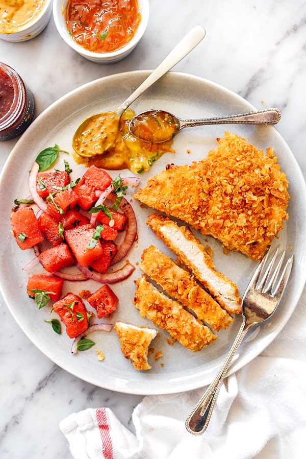 Potato Chip Crusted Chicken Breasts Recipe | #baked #recipes #easy foodiecrush.com