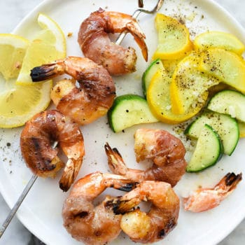 Prosciutto Wrapped Grilled Shrimp Skewers | foodiecrush.com