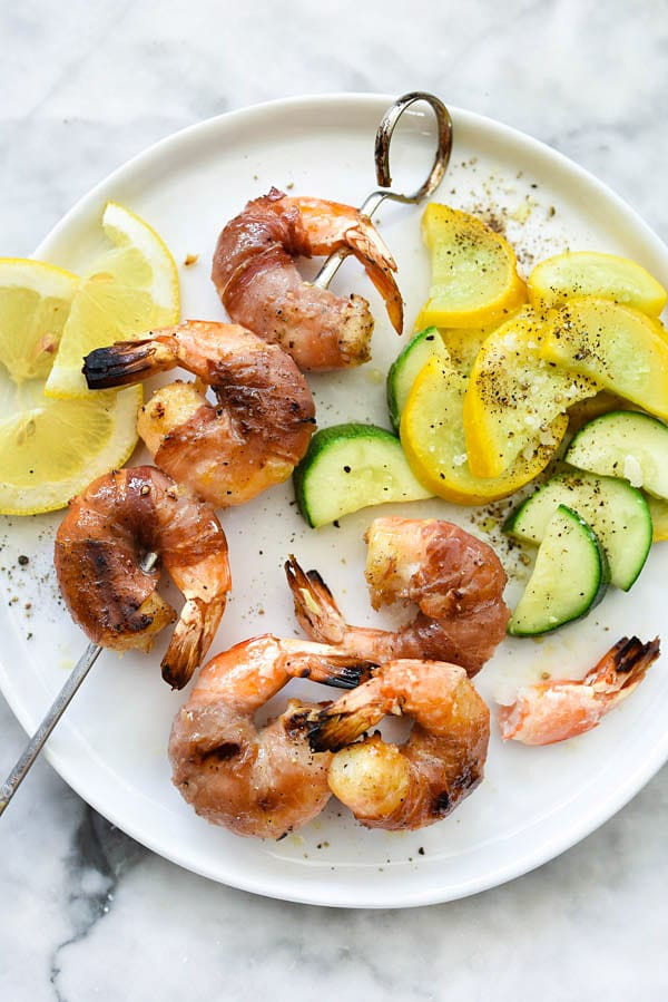 Prosciutto Wrapped Grilled Shrimp | #grilled #kabobs #garlic #healthy #marinade #easy foodiecrush.com