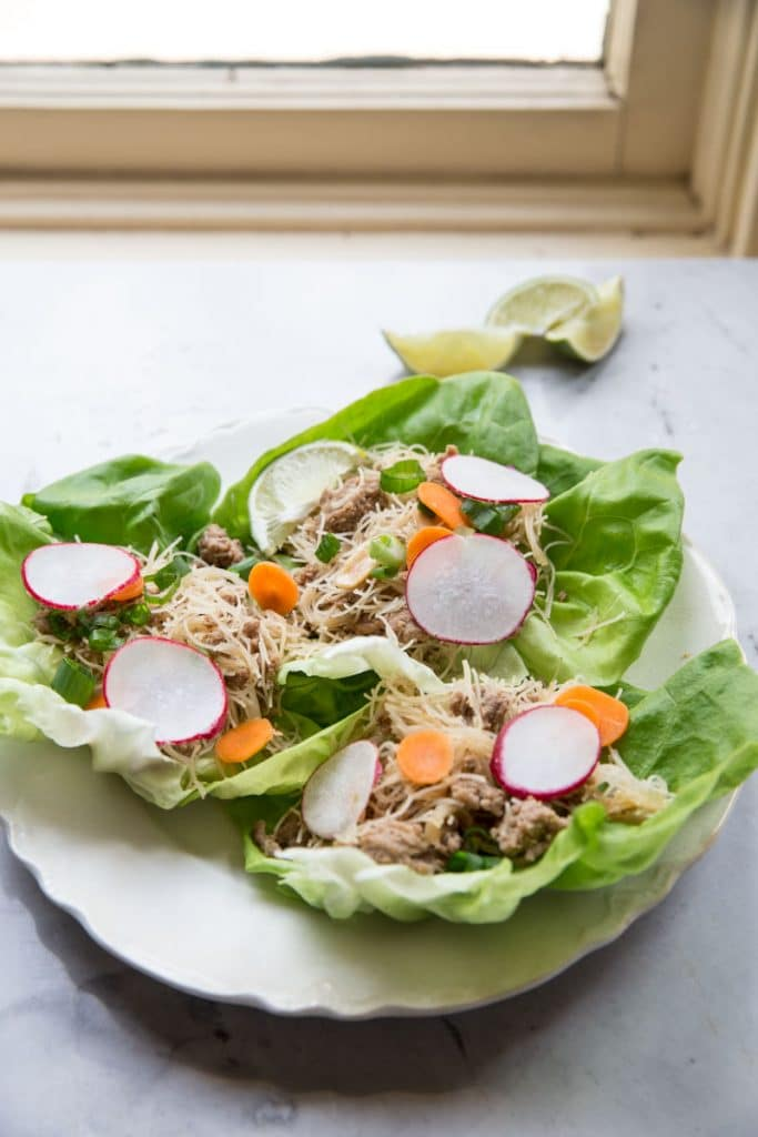 Asian Chicken Lettuce Wraps with Carrots and Radishes from The Vintage Mixer on foodiecrush.com