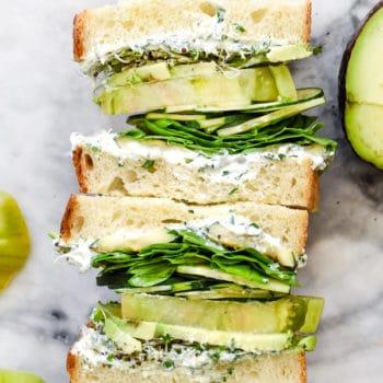 Green Goddess Cream Cheese Veggie Sandwich | foodiecrush.com