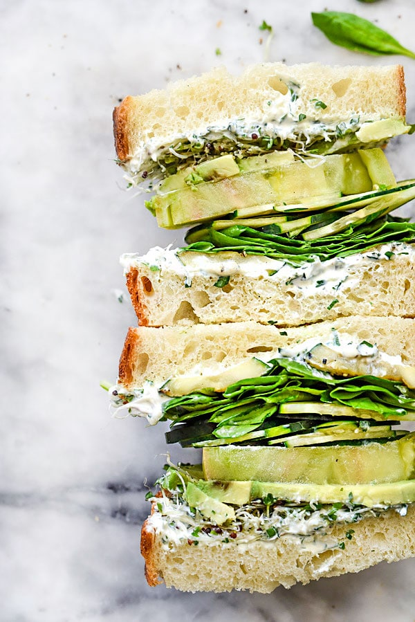 Green Goddess Cream Cheese Veggie Sandwich | foodiecrush.com