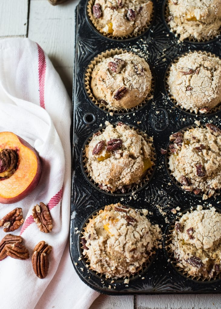 Peach Muffins with Pecan Streusel from Café Johnsonia on foodiecrush.com