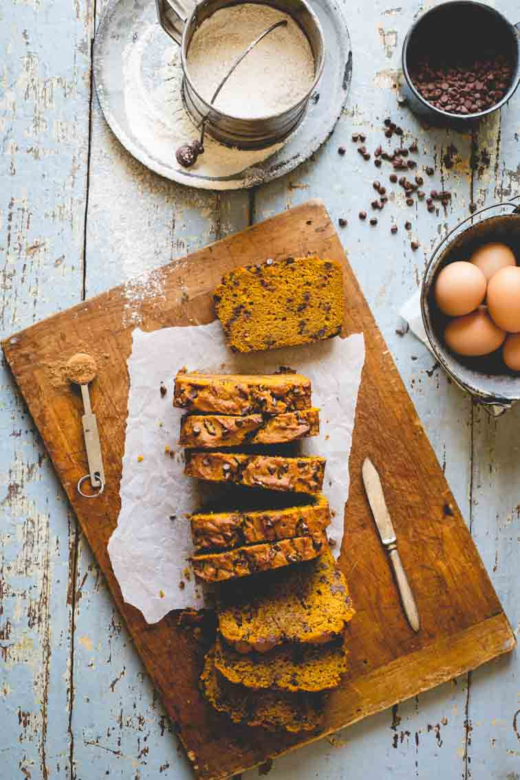 Healthy Chocolate Chip Pumpkin Bread from healthyseasonalrecipes.com on foodiecrush.com