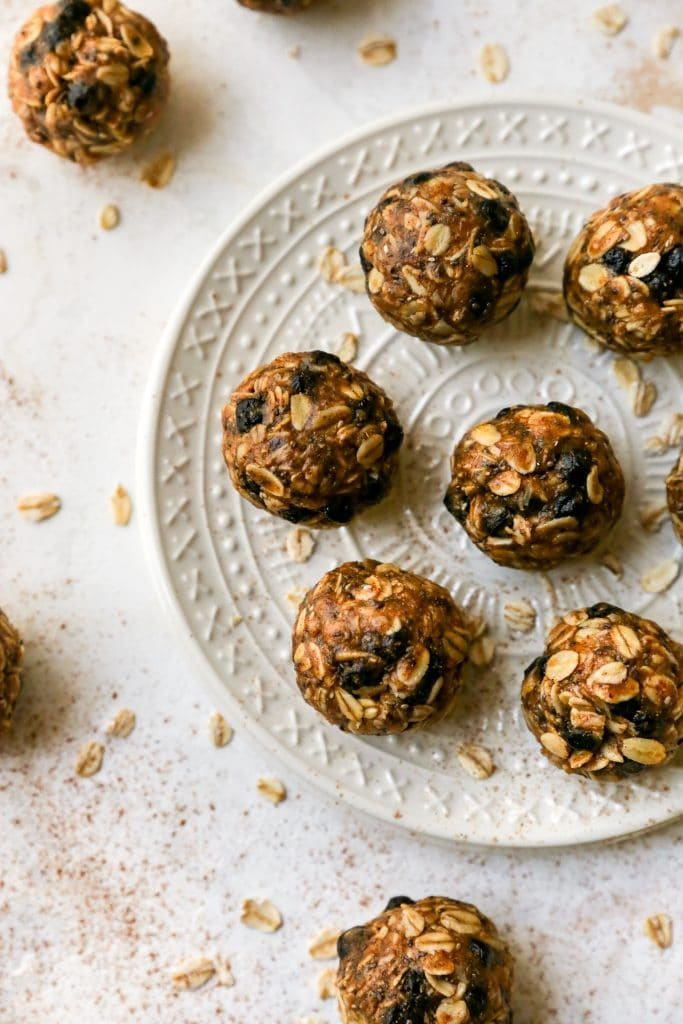 Blueberry Oatmeal Power Balls from Yes to Yolks on FoodieCrush.com