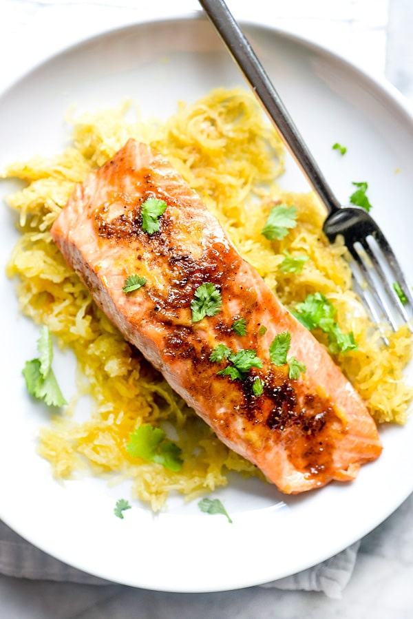Orange Spiced Salmon with Spaghetti Squash | #baked #recipes #healthy #dinners foodiecrush.com