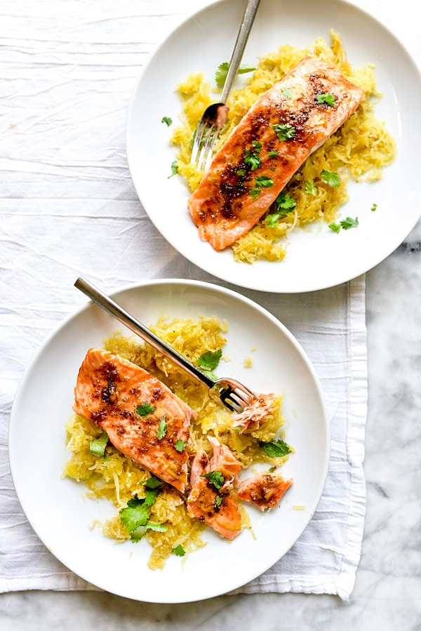 Orange Spiced Salmon with Spaghetti Squash | foodiecrush.com