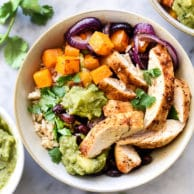 Roasted Chicken, Butternut Squash and Guacamole Rice Bowls | foodiecrush.com