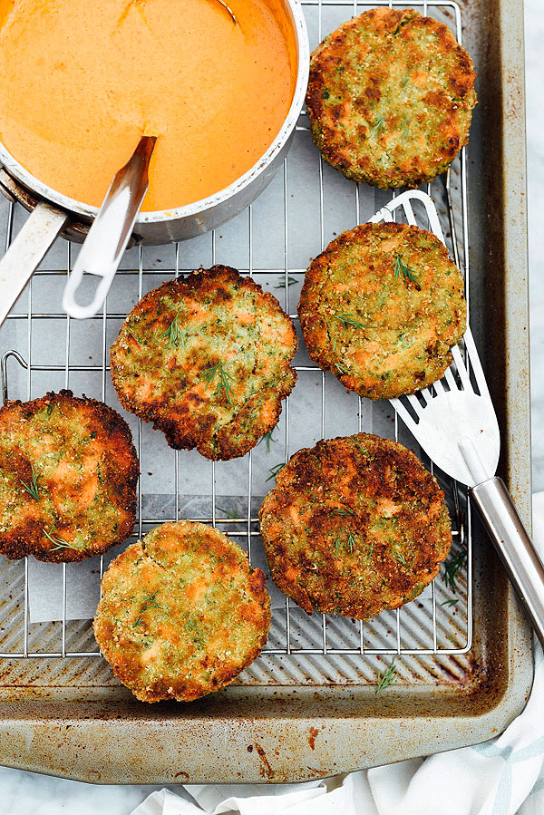 Salmon Cakes with Red Pepper Cream Sauce | foodiecrush.com