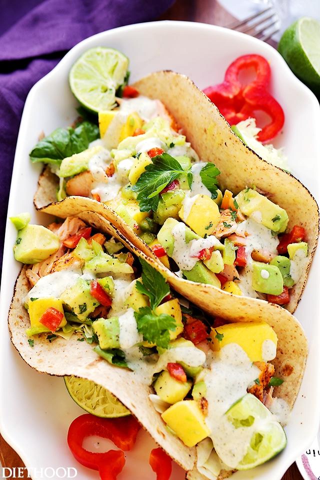 Salmon Tacos with Mango Avocado Salsa   Diethood on foodiecrush.com