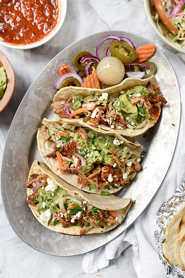 Slow Cooker Smoky Pulled Pork Tacos | #easy #shoulder #recipe #tacos foodiecrush.com