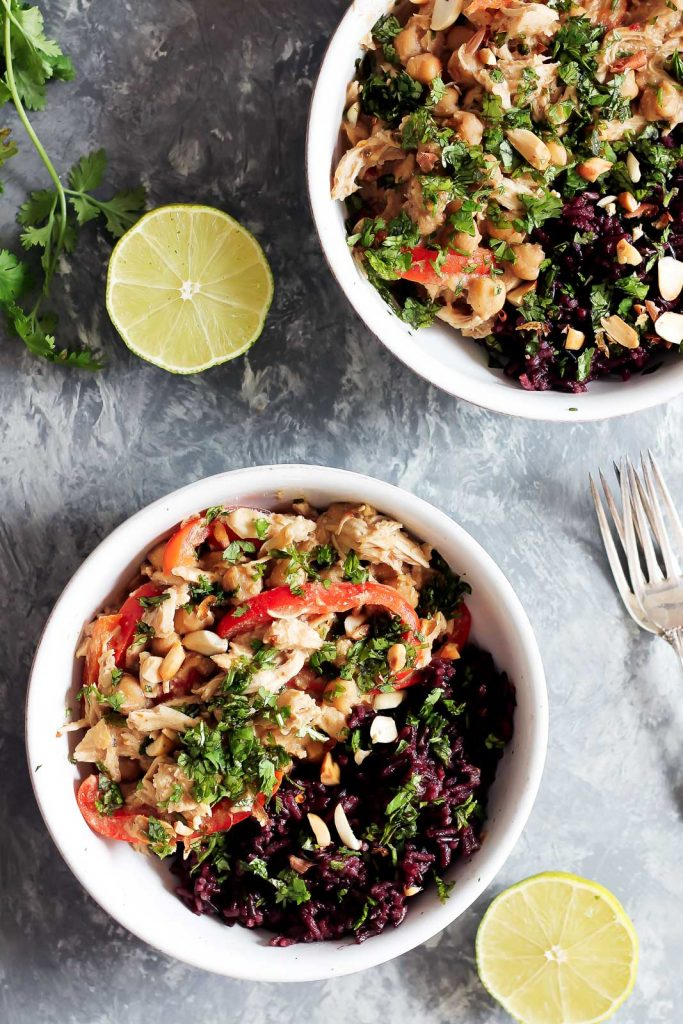 Slow Cooker Thai Peanut Chicken with Sticky Coconut Purple Rice from Ambitious Kitchen on foodiecrush.com
