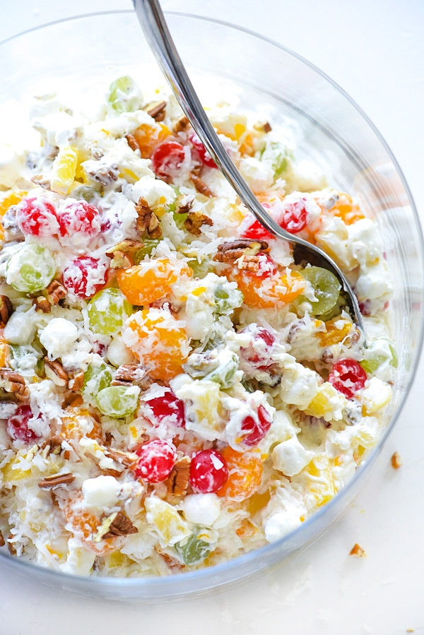 classic ambrosia salad in glass serving bowl
