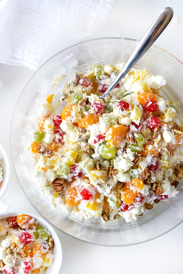 marshmallow fruit salad in large bowl