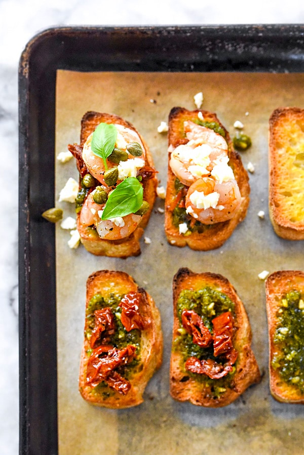Pesto Shrimp Bruschetta Recipe | foodiecrush.com
