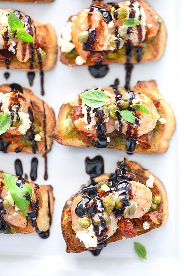 Pesto Shrimp Bruschetta Recipe | foodiecrush.com