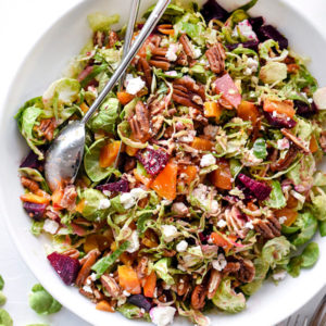 Shaved Brussels Sprouts Salad With Roasted Beets, Pecans and Goat Cheese   foodiecrush.com