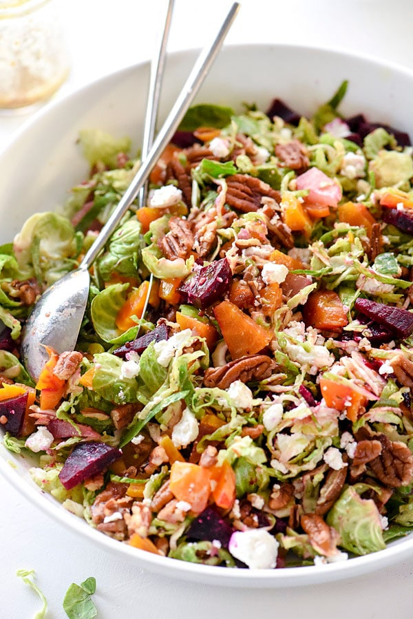 Brussels Sprouts Salad With Beets Pecans Amp Goat Cheese