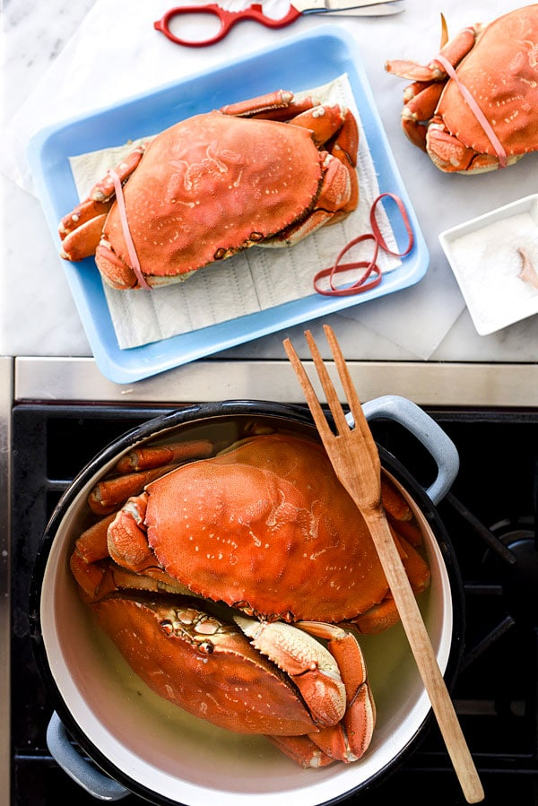 The Easiest Whole Dungeness Crab Recipe with Citrus Butter | foodiecrush.com