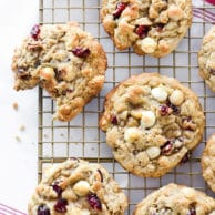 Cranberry White Chocolate Chip and Macadamia Nut Cookies | foodiecrush.com