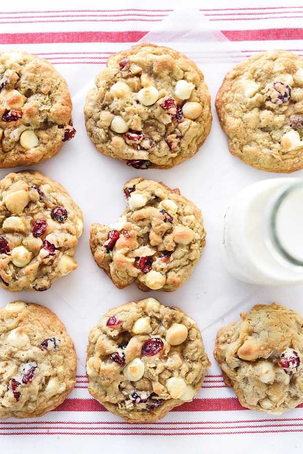 Cranberry White Chocolate Chip Macadamia Nut Cookies | #easy #recipes #oatmeal #sweets #baking foodiecrush.com