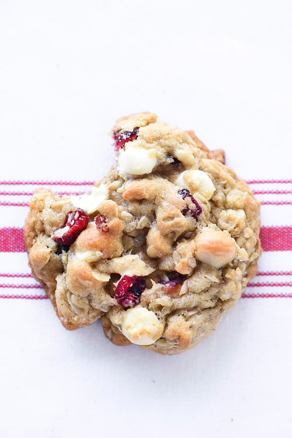oatmeal cranberry cookie with bite missing