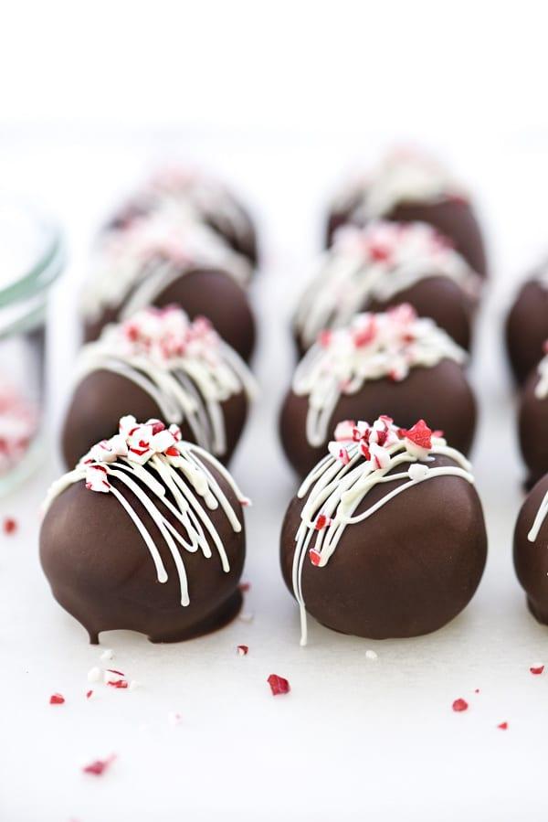 Peppermint Truffles | #recipe #chocolate #easy #candycanes #dark foodiecrush.com