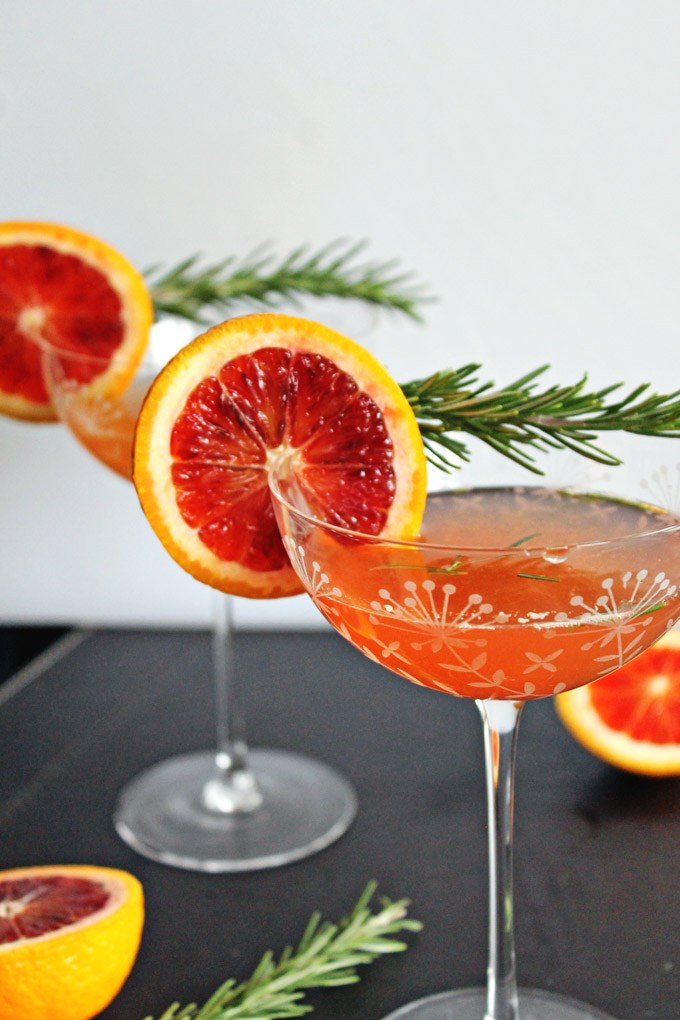 Blood Orange Rosemary Gin Cocktail from Rhubarbians on foodiecrush.com