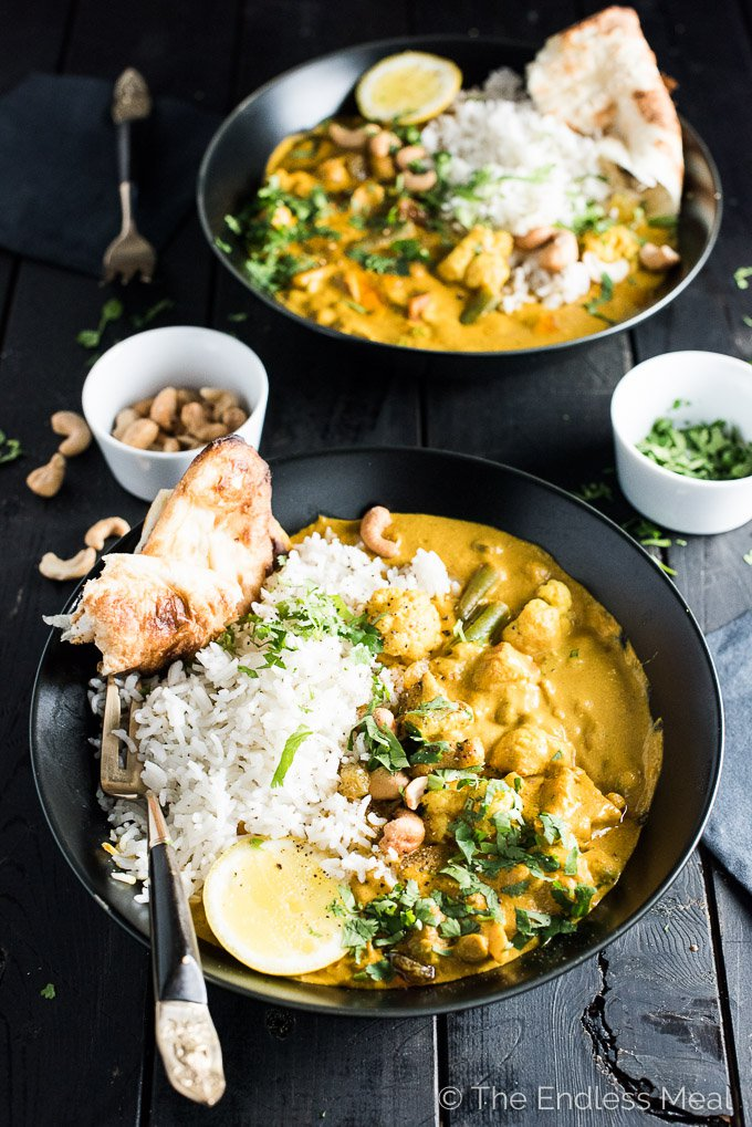 Creamy Coconut Vegetarian Korma from theendlessmeal.com on foodiecrush.com