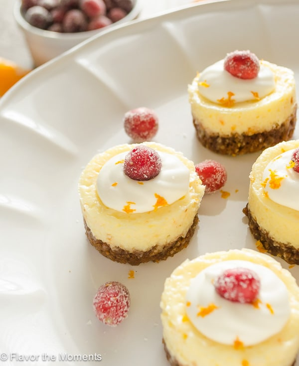 Mini Cranberry Orange Cheesecakes with Gingersnap Crust by Flavor the Moments