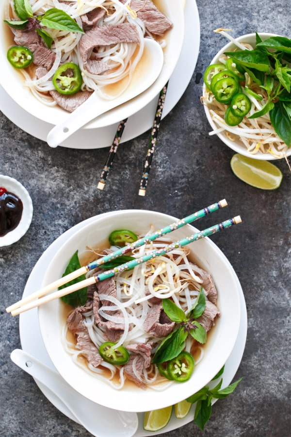 Quick Beef Pho from loveandoliveoil.com on foodiecrush.com
