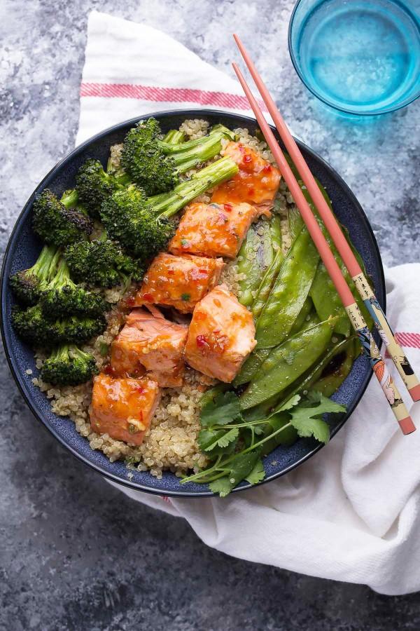 Sweet Chili Salmon and Broccoli Quinoa Bowl from sweetpeasandsaffron.com on foodiecrush.com