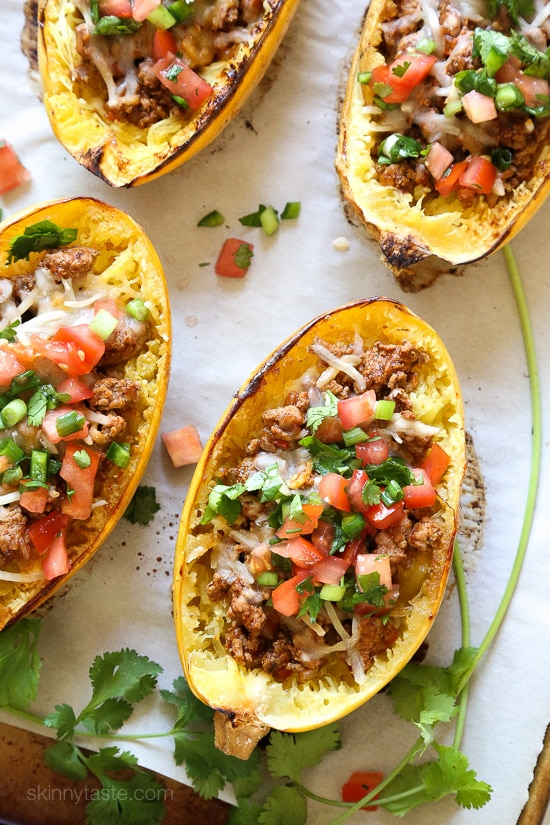 Turkey Taco Spaghetti Squash Boats from skinnytaste.com on foodiecrush.com