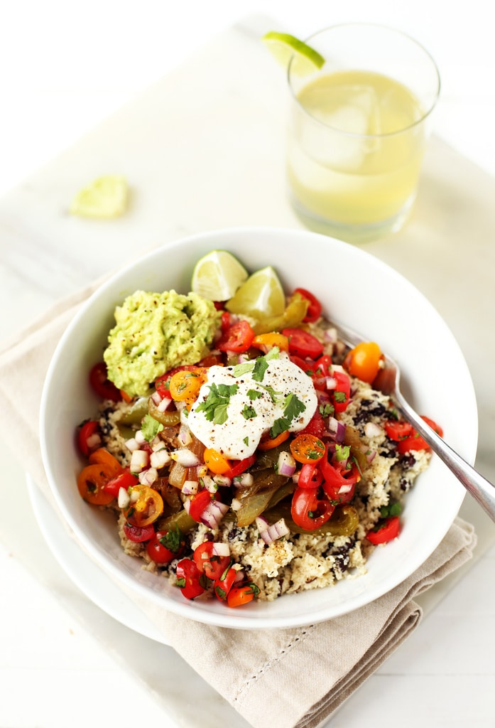 Vegetable Burrito Bowls with Cauliflower Rice from blissfulbasil.com on foodiecrush.com