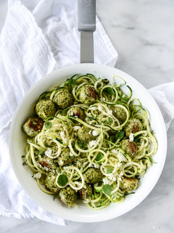 Zucchini Noodles with Mini Chicken Feta and Spinach Meatballs from howsweeteats.com on foodiecrush.com
