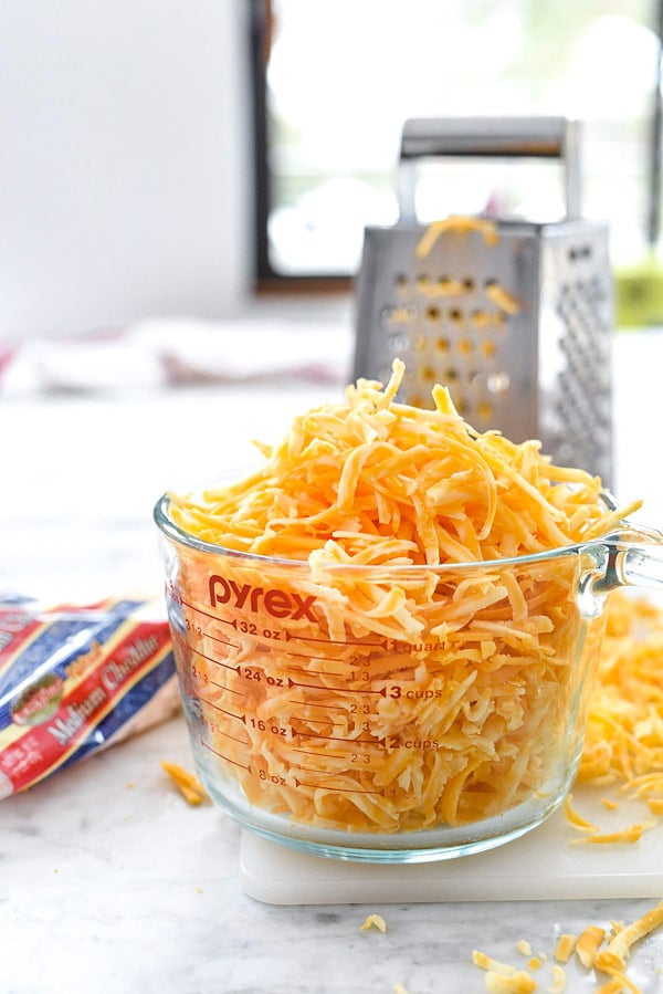 shredded cheddar cheese for cauliflower mac and cheese