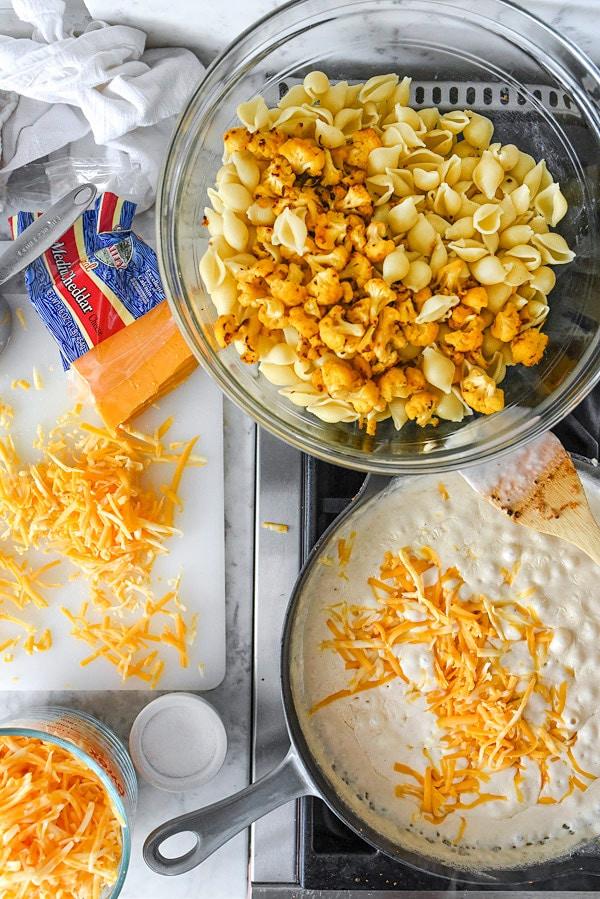 prepping cauliflower macaroni and cheese